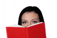 Woman with book reading stock images