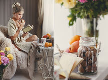 A woman with a book and a ripe apple in a hand Royalty Free Stock Image