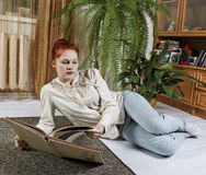 Woman with book. Royalty Free Stock Image