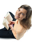 Woman, book, smile Stock Images