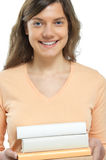 Woman, book, smile Stock Image