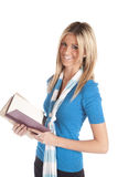 Woman with book smiles Stock Images