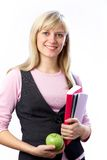 Woman with books. Portrait of Intelligence girl student with books on the white background Royalty Free Stock Photography