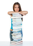Woman with books. Attractive woman with pile of books stock photography