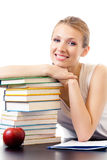 Woman with books, isolated royalty free stock photo
