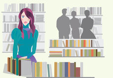 Woman in Bookstore. Or Library Stock Images