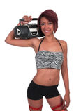 Woman with Boom Box Royalty Free Stock Images