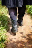 Woman boots path hike Stock Photo