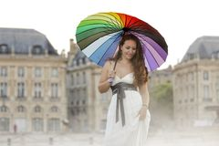 Woman in Bordeaux city Stock Photography