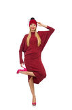 The woman in bordo dress isolated on white Stock Images