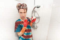 Woman boring chores Royalty Free Stock Images