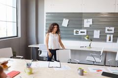 Successful business woman is standing in her office. stock photography