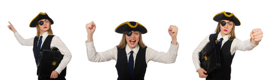 The woman boss pirate isolated on the white Stock Images