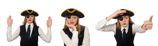 The woman boss pirate  on the white Stock Photos
