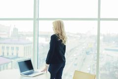 Woman boss working office laptop hands style royalty free stock photo