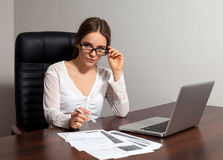 Woman boss works in the office Royalty Free Stock Photos