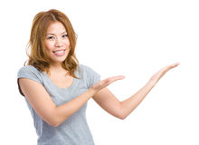 Woman both hand showing something Stock Photography