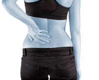 Woman with both palm around back to show pain and injury on back Stock Photography