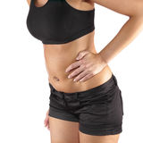 Woman with both palm around waistline to show pain on belly area Stock Photo