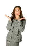 Woman with both palms up. Businesswoman with both palms facing upwards, wondering gesture, isolated on white Stock Photos