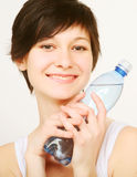 Woman with bottle of clean water Stock Photo