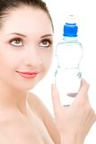 Woman with bottle of clean water Stock Image