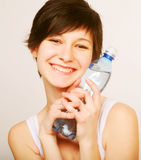 woman with bottle of clean water Royalty Free Stock Photos