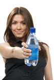 Woman  with bottle of drinking water Royalty Free Stock Photography