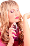 woman with bottle of perfume Royalty Free Stock Photography