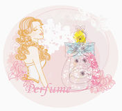 Woman and bottle of perfume with a floral aroma Royalty Free Stock Photos