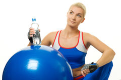 Woman with a bottle of water Stock Images