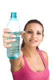 Woman with bottle of water Royalty Free Stock Photo