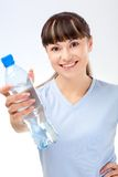 Woman with bottle of water Stock Photos