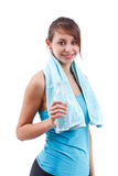 Woman with bottle of water Royalty Free Stock Image