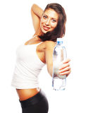 Woman with bottle of water over white Royalty Free Stock Image