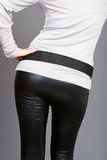 Woman bottom wearing black leather pants Stock Photo