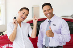 Woman bought new car Stock Image