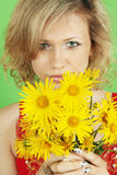 Woman with a bouquet Royalty Free Stock Image