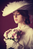 Woman with bouquet Royalty Free Stock Photo