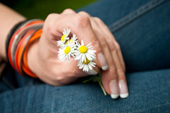 Woman with bouquet of daisies Royalty Free Stock Photography