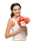 Woman with bouquet of flowers Royalty Free Stock Photos