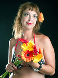 Woman with bouquet of flowers Royalty Free Stock Photography