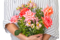 Woman with a bouquet of flowers Royalty Free Stock Photos