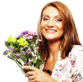 Woman with bouquet flowers Stock Image