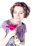 Woman with bouquet. This image has attached release Stock Photography