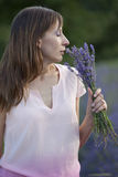 Woman with bouquet lavender Royalty Free Stock Photo