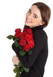 Woman with a bouquet of red roses Royalty Free Stock Photo
