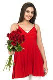 Woman a bouquet of red roses Royalty Free Stock Image