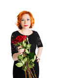 Woman with bouquet of red roses Stock Photo