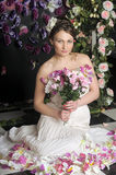 Woman with bouquet of roses Stock Photo